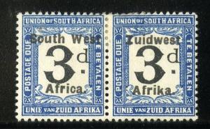 SOUTH WEST AFRICA J32 MH PAIR SCV $10.00 BIN $4.50 OVERPRINT POSTAGE ON FRAME