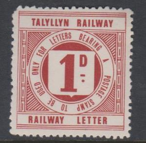 Great Britain Wales Talyllyn 1d Railway Letter Stamp MNH