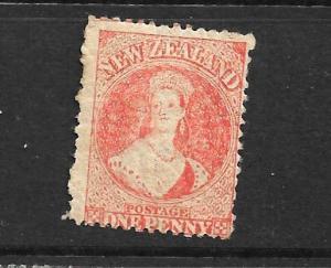 NEW ZEALAND 1864-67  1d  ORANGE   FFQ  MNH P12 1/2   CP A1M5   SG 112 CHALON