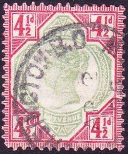 GREAT BRITAIN 1887 QV 4.5d Green & Deep Bright Carmine SG206a Used CV £450