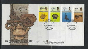 BRUNEI COVER  (PP2712B)  1987 HANDICRAFTS 1ST SERIES  CACHETED UNADDRESSED FDC