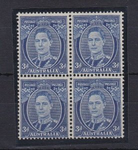 APD184) Australia 1940 3d Deep blue die III perf 15 x 14 ACSC 195, block of 4