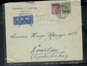MOROCCO COVER (PP2912B) 1933  KGV 2 STAMPS  COVER LARACHE TO CZECHOSLOVAKIA