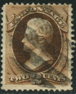 US Sc#157 1873 2c Brown CBN with Secret Mark Fine & Sound Used