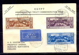 EGYPT - 1936 Anglo-Egyptian Treaty FDC with Continental Savoy CDs Rare