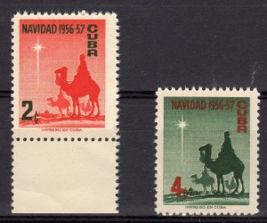 Christmas 1956 The Tree Wise Men Set (2)  MNH Cuba 1956 Sc#562/563