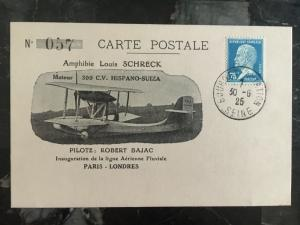 1925 paris France to England First Flight Postcard Cover Seaplane 120 Carried