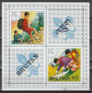Bhutan, Scott cat. 139a. 60th Anniversary of Boy Scouts s/sheet. *