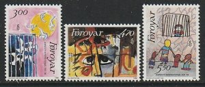 1986 Faroe Islands - Sc 145-7 - MNH VF - 3 single - Amnesty International