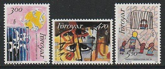 1986 Faroe Islands - Sc 145-7 - MNH VF - 3 single - Amnesty International
