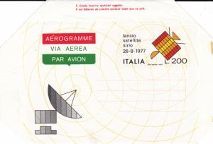 Italy Air Mail Stationery 1977 Lancio Satellite Sirio L.200
