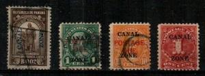 Canal Zone Scott J5, J15, J17, J18 Used (Catalog Value $46.50)