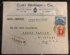 1927 Buenos Aires Argentina Commercial Registered Cover To Grand Rapids MI USA