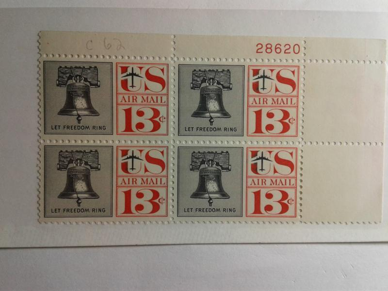 SCOTT # C 62  13 CENT US AIR MAIL PLATE BLOCK  !! MINT NEVER HINGED GEM !!