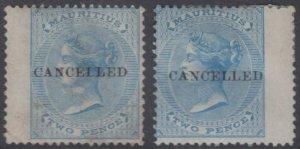 BC MAURITIUS 1863-72 QV Sc 33 SG 59 & 60 PALE & BRIGHT BLUE CANCELLED SCV$140