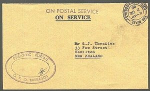 BARBADOS 1993 Official cover  to New Zealand...............................23993