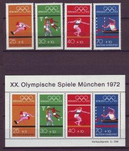 Z851JLstamps 1972 germany set + s/s mnh #490,490 a-d sports