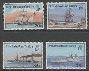 BRITISH INDIAN OCEAN TERR SG115/8 1991 VISITING SHIPS MNH