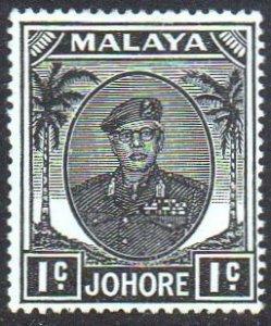 Johore 1949 1c black MH