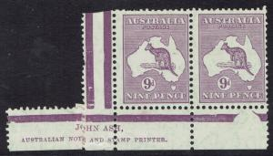 AUSTRALIA 1929 KANGAROO 9D IMPRINT GUTTER PAIR SMALL MULTI WMK