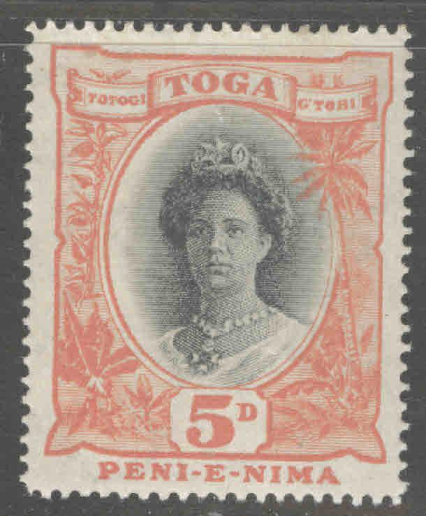 TONGA  Scott 59 MH* Queen Salote with turtle watermark