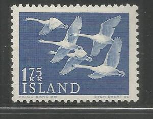 ICELAND  299  MINT HINGED,  WHOOPER SWANS