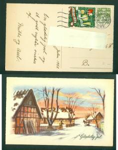 Denmark. Christmas Card 1951 With Seal + 10 Ore.Copenhagen.Farm,Man,Horse.24 Dec