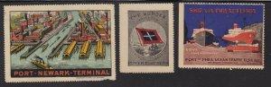 US Vintage Steamship & Ship Ports Cinderella Stamps lot of 3 (L54)