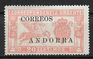 1928 Spanish Andorra E2 Overprinted Spanish Special Delivery MH