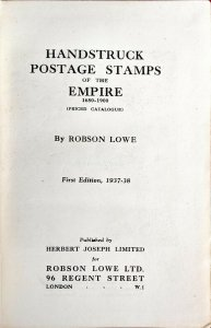 1937 HANDSTRUCK POSTAGE STAMPS OF THE EMPIRE Robson Lowe Postal History Pmks.