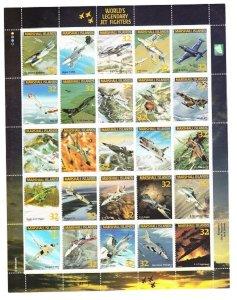 Marshall Islands #600 Legendary Jet Aircraft MNH sheet of 20