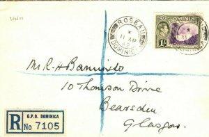 DOMINICA WW2 KGVI Cover Not Censored GB Glasgow 1942{samwells-covers}PB78