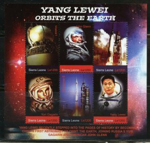 Sierra Leone MNH S/S Yang Lewei Orbits The Earth Space 6 Stamps