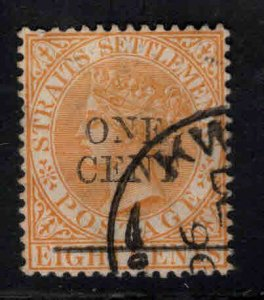 Straits Settlements Scott 80 Used Surcharged Queen Victoria stamp