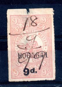 London & North Western Railway 9d Parcel Stamp used (spacefiller) WS12387