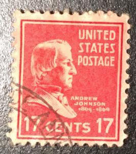 822 Johnson, Presidents, Circ. Single, Vic's Stamp Stash