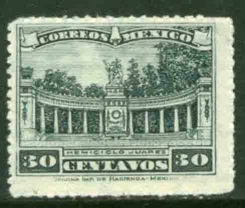 MEXICO 657, 30cents, JUAREZ MONUMENT, rouletted, MINT, NH. F-VF.