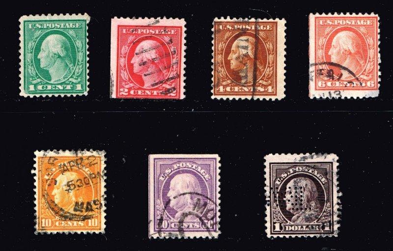 US STAMP #498 // 518  $1 Franklin, violet brown USED STAMPS LOT
