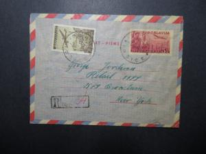 Yugoslavia 1949 Uprated Aerogramme to New York / Light Creasing - Z12072
