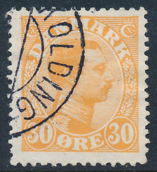 Denmark Scott 112, AFA 127, 30 øre orange Christian X, F-VF used