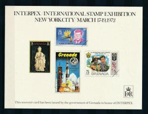 [19580] Grenada 1972 Interpex Scouts Kennedy Madonna Space Souvenir Card MNH