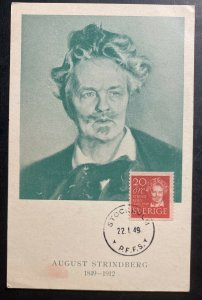 1949 Stockholm Sweden Maxi postcard First DaY Cover FDC August Strindberg