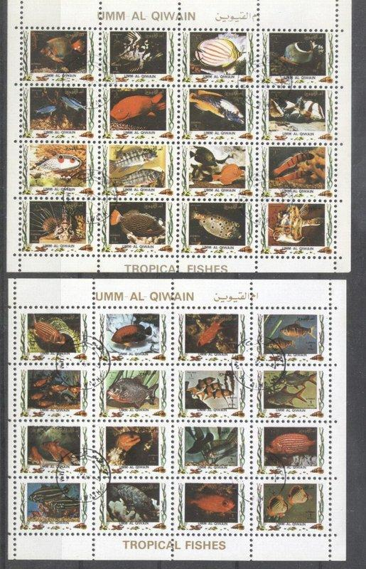 Umm al Qiwain 1973 Fishes, 2 perf. mini sheetlet, used    T.180