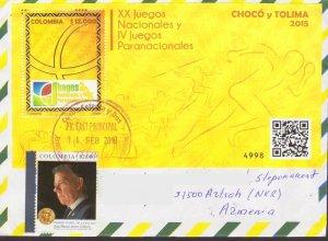 RARE COLOMBIA SOUTH AMERICA SPORT LETTER TO ARTSAKH KARABAKH ARMENIA R18418
