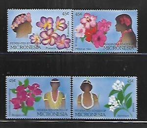 MICRONESIA, 72-75, MNH, FLOWERS