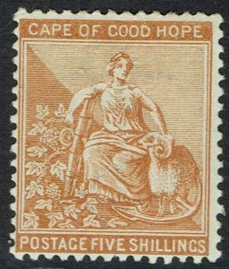 CAPE OF GOOD HOPE 1893 HOPE SEATED 5/- WMK ANCHOR