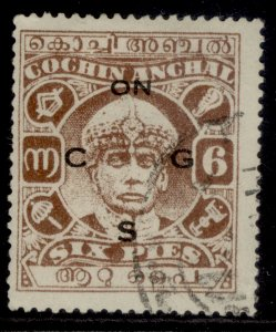 INDIAN STATES - Cochin GVI SG O55a, 6p red-brown, USED.