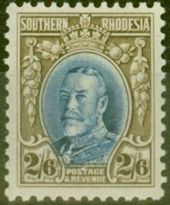 Southern Rhodesia 1933 2s6d Blue & Drab SG26a P.11.5 V.F Mtd Mint