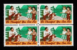 VINTAGE POSTER STAMP ⭐ BE THANKFUL YOU CAN SEE ⭐ BLOCK OF 4 (MNH-OG)