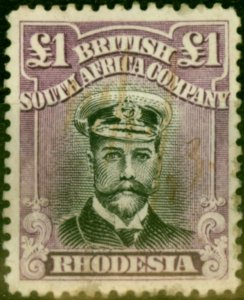 Rhodesia 1913 £1 Black & Violet SG243 Reduced Fiscal Cancel